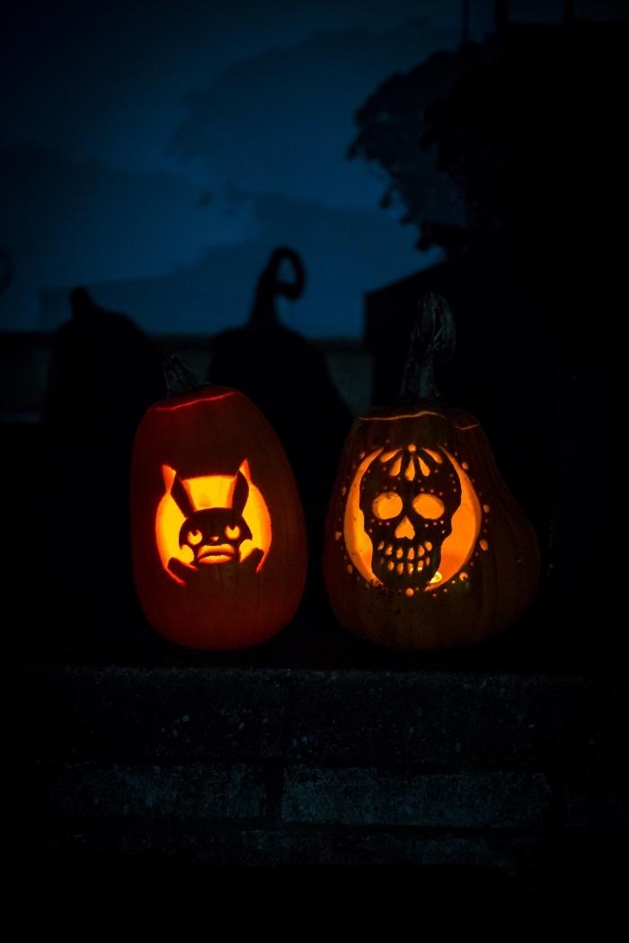 fond d écran horreur pour iphone, diy lanternes citrouilles sculptées avec visage lapin et crâne, diy lanterne jack'o