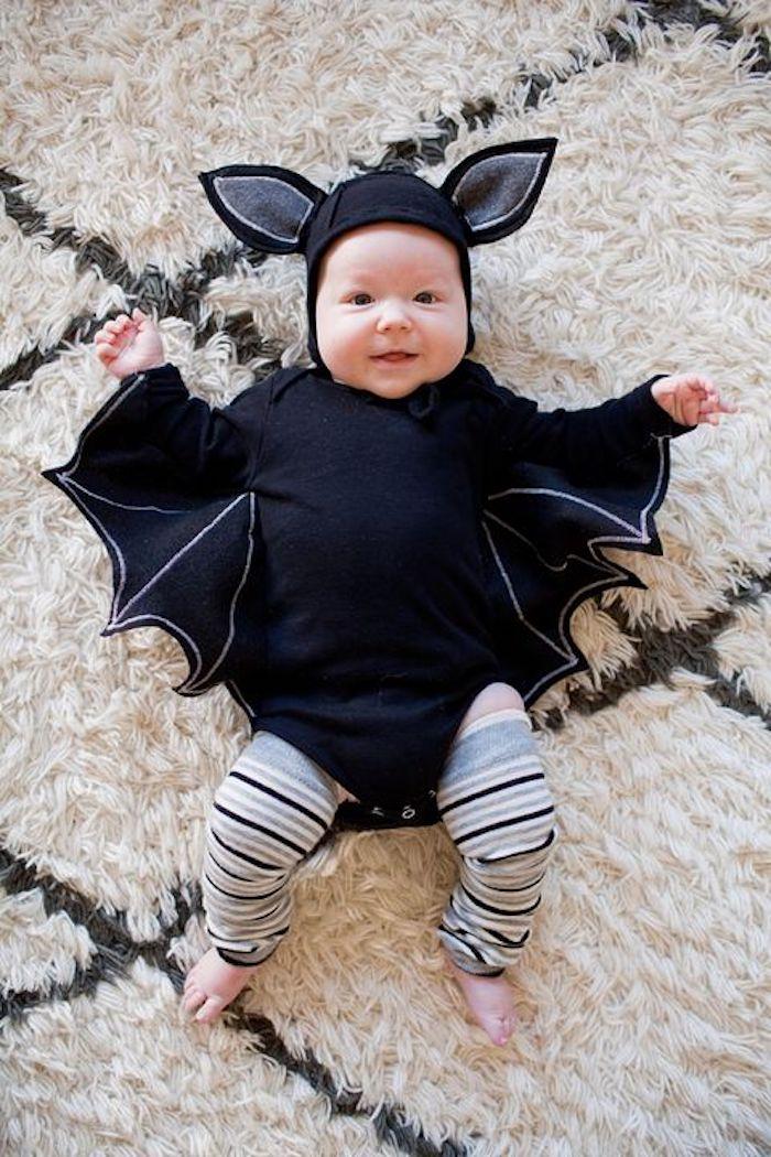Chauve souris deguisement bebe halloween, s'habiller pour la fête de halloween comme un chauve souris, idée costume pour bebe