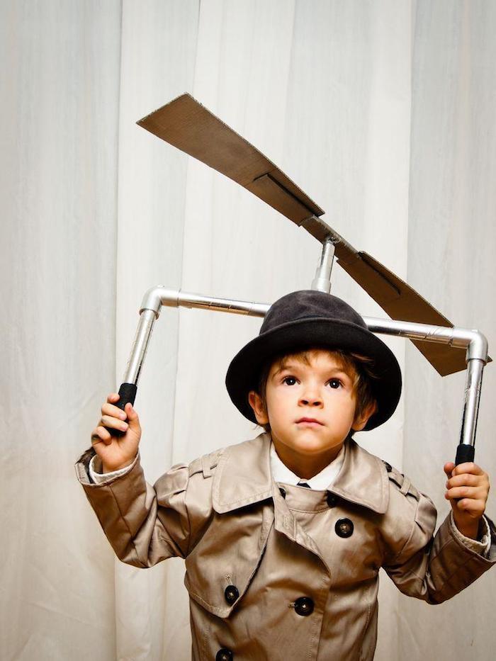 Inspecteur Gadget déguisement halloween pour bébé et enfant, garçon adorable photo avec costume classique Gadget