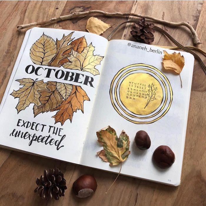 Octobre dessin bullet journal, photo de dessin automne, comment dessiner une citrouille, feuilles dorées cool idée dessin