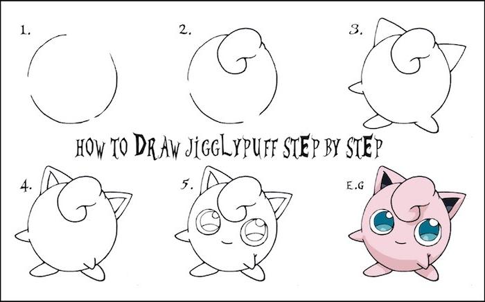 comment dessiner kawaii simplement, petite creature kawaii personnage manga a dessiner par etape