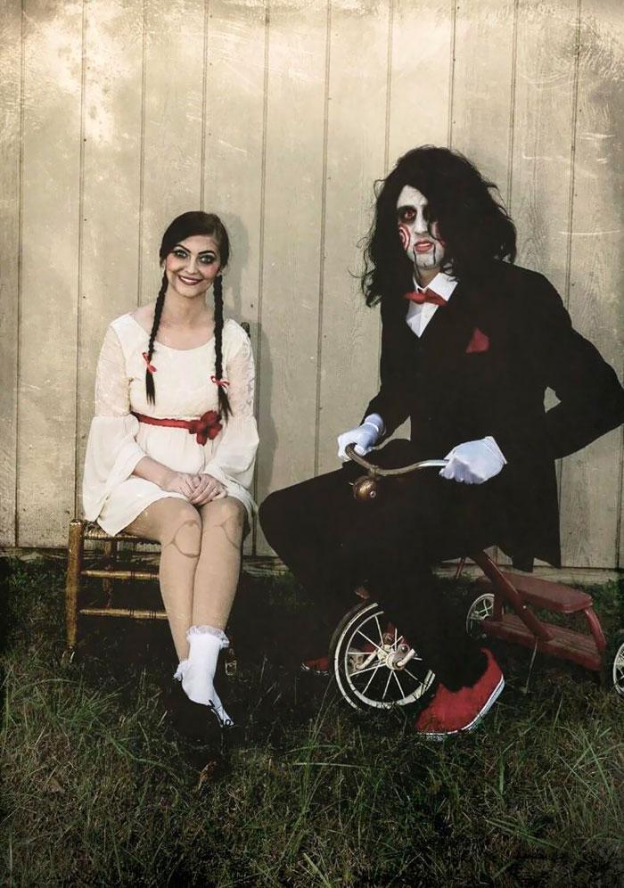Couple jigsaw deguisement homme et femme, costumes diy à faire la dernière minute