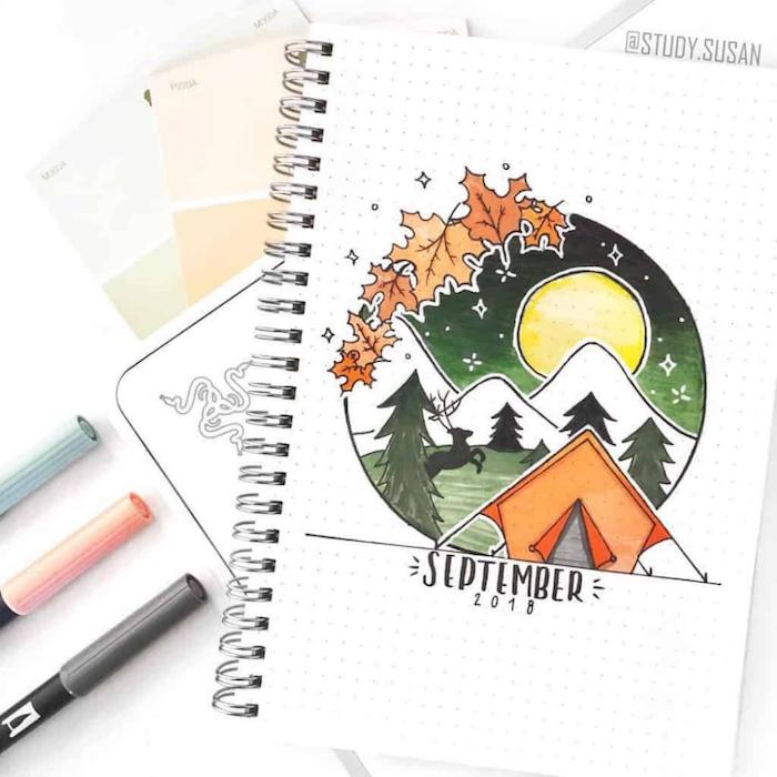 Septembre page de journal de motivation, coloriage automne, comment dessiner une tente dans la foret