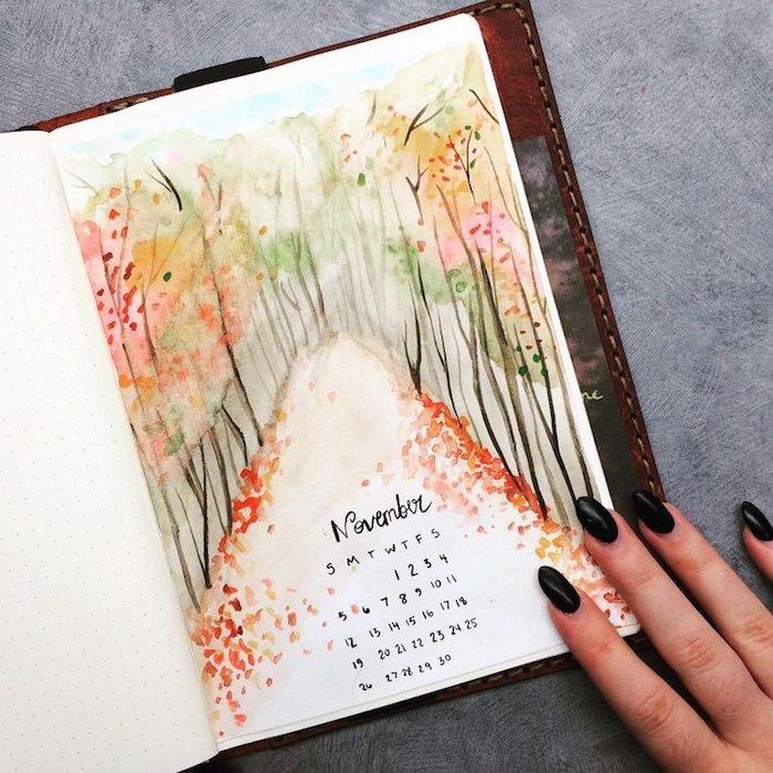 A quoi ressemble Novembre, page bullet journal, automne dessin, dessin arbre sans feuille belle image