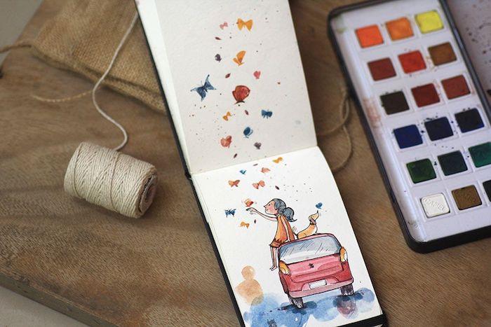 Page cahier d'esquisse, fille et son chien sur une voiture mignonne rouge, feuilles d'automne sur le ciel dessin, dessin d'automne