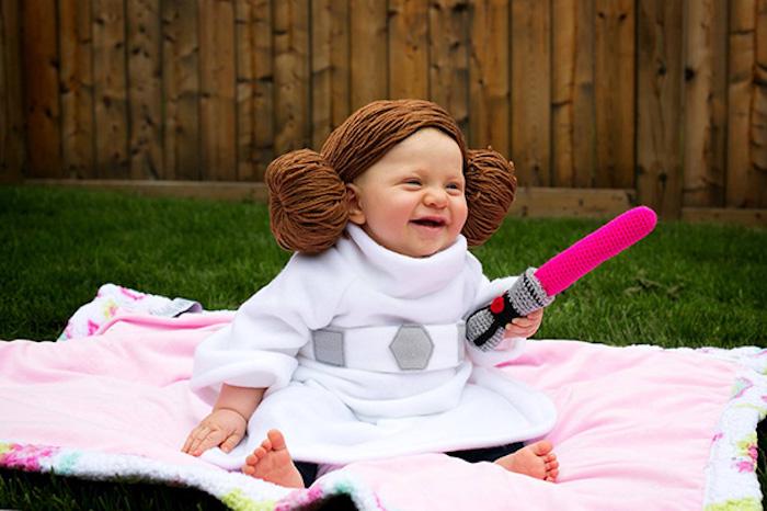 Bébé comme princesse lea, déguisement garçon, mignonne idée pour le bébé à Halloween fille Lea adorable