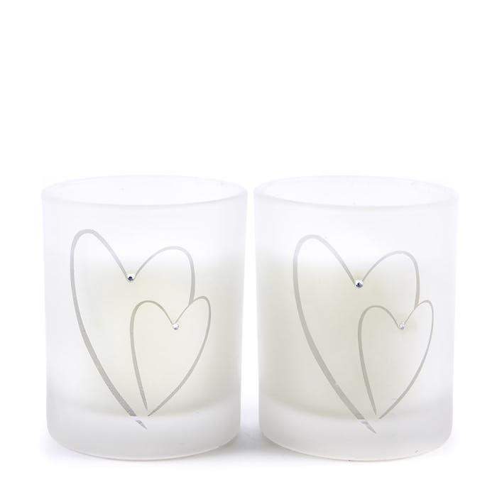 Bougies coeur blanc, idée cadeau parents, idée de cadeau pour couple simple