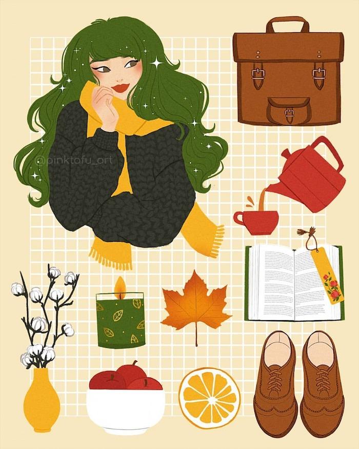 Fille et tout ce dont elle a besoin de pendant les mois d'automne, idée chaussures automne modernes dessin, thé et théière, livre et bougie aromatique