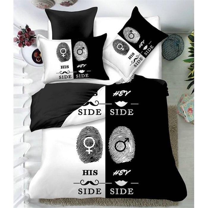Linge de lit original, idée de cadeau pour couple linge quelle côté est à qui, simple idée pour cadeau