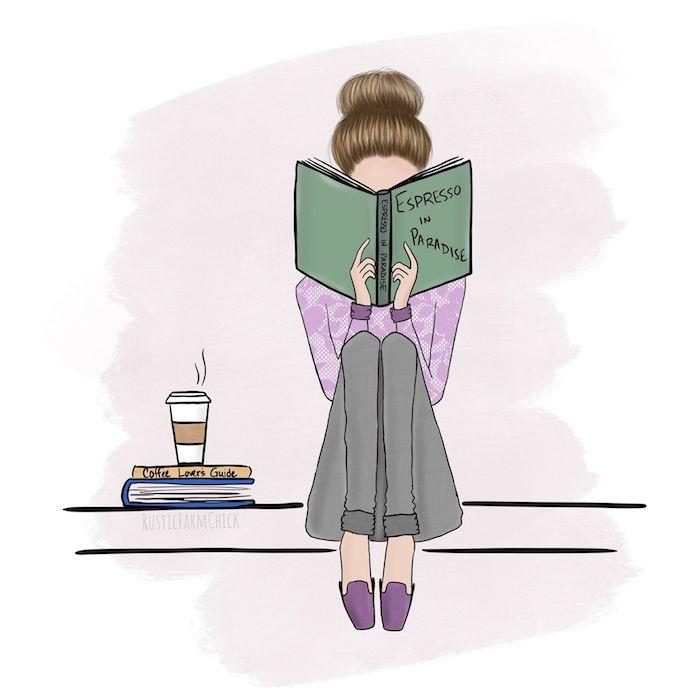 Livre espresso en paradis, dessin fille lisant un livre habillée bien pour l'automne, cool dessins à faire soi même