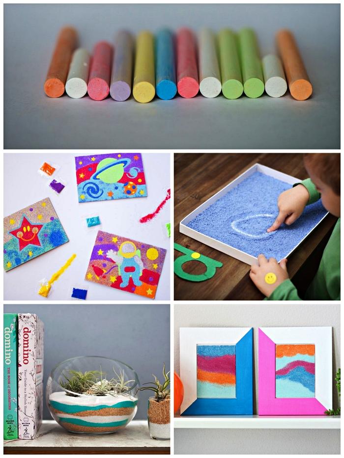 loisirs créatifs adultes et enfants avec du sable decoratif coloré, idée de bricolage à faire avec du sable