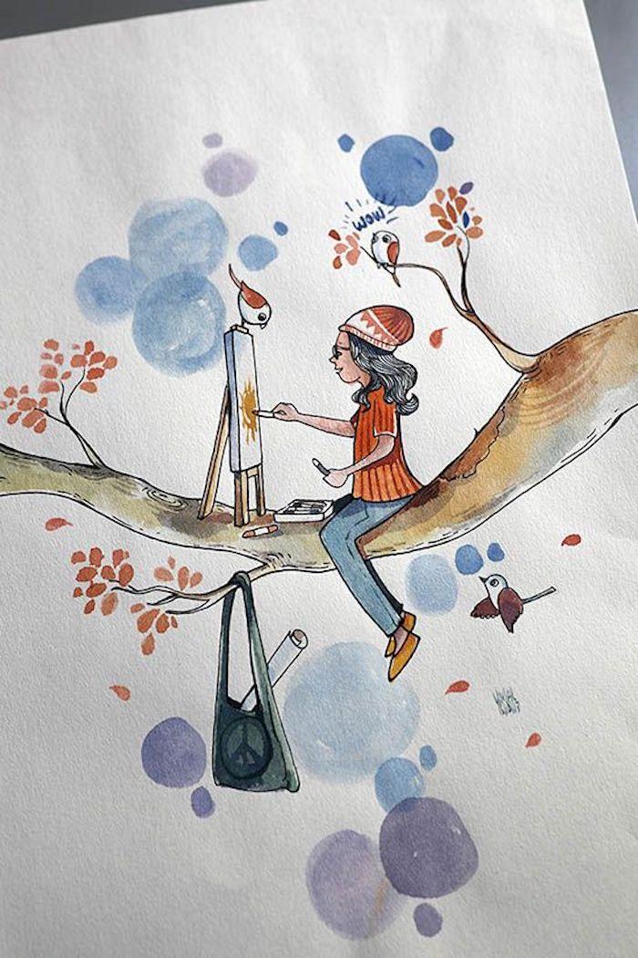 Fille assise sur un arbre avec feuilles oranges qui dessine le soleil, oiseaux dessin adorable coloré