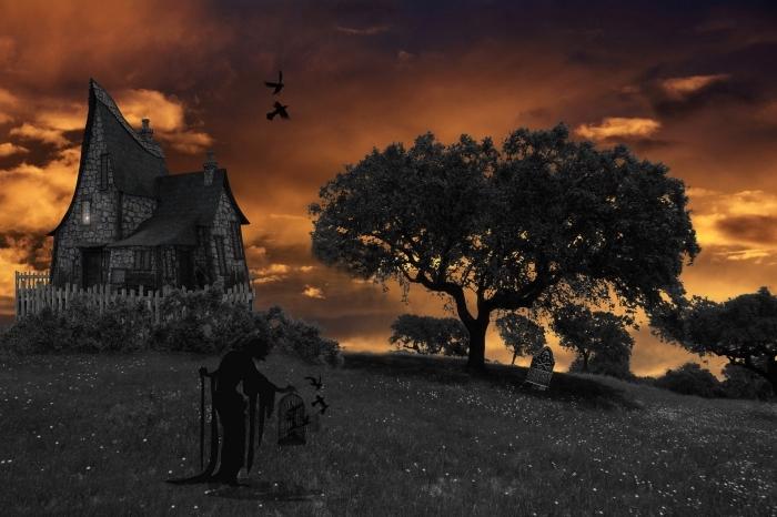 art digital image halloween terrifiante avec paysage coucher de soleil et maison abandonnée, photo halloween pour wallpaper pc