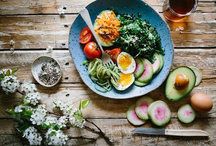 Bol avec tomate, avocat et oeufs, idée comment se soigner mieux de soi, manger bien et leger