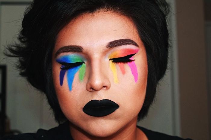 maquillage arc en ciel artistique pour halloween, idée de maquillage halloween de dernière minute