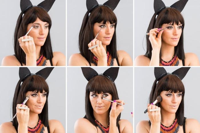 pas à pas maquillage halloween femme, tutoriel comment se maquiller pour faire des yeux de chat avec eyeliner noir