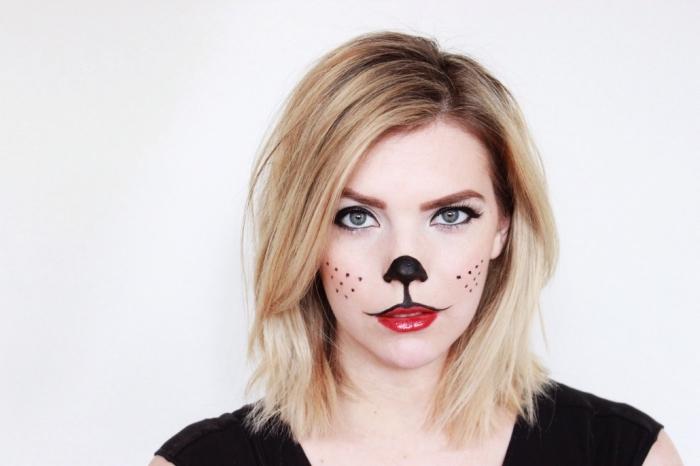 idée deguisement adulte femme en chat, quel costume pour femme Halloween de dernière minute, maquillage chat facile