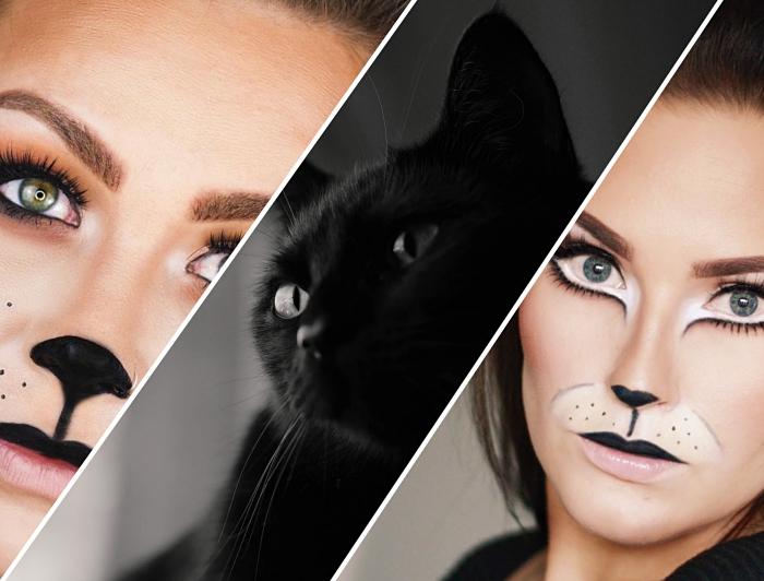 idée deguisement halloween femme, comment faire un maquillage facile pour halloween, idée costume et maquillage femme chat