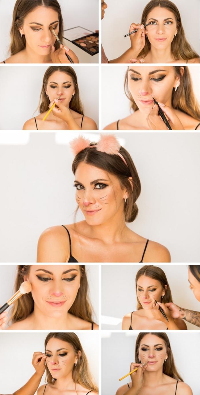 pas à pas maquillage facile pour halloween, idée comment se déguiser femme, tutoriel maquillage carnaval femme chat