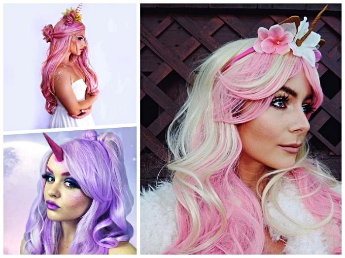 réussir son maquillage et déguisement licorne, look licorne dans les tons pastel du rose et de la lavande