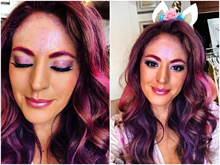 maquillage halloween facile pour un look licorne épuré, maquillage des yeux mauve et pailleté