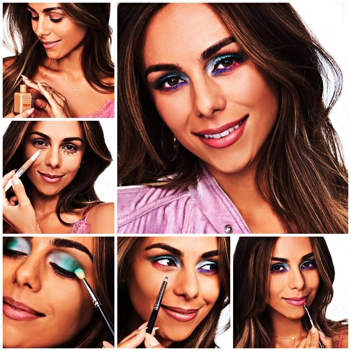 tuto maquillage pour réaliser un maquillage licorne chromé en rose, vert et violet, maquillage de halloween pour femme