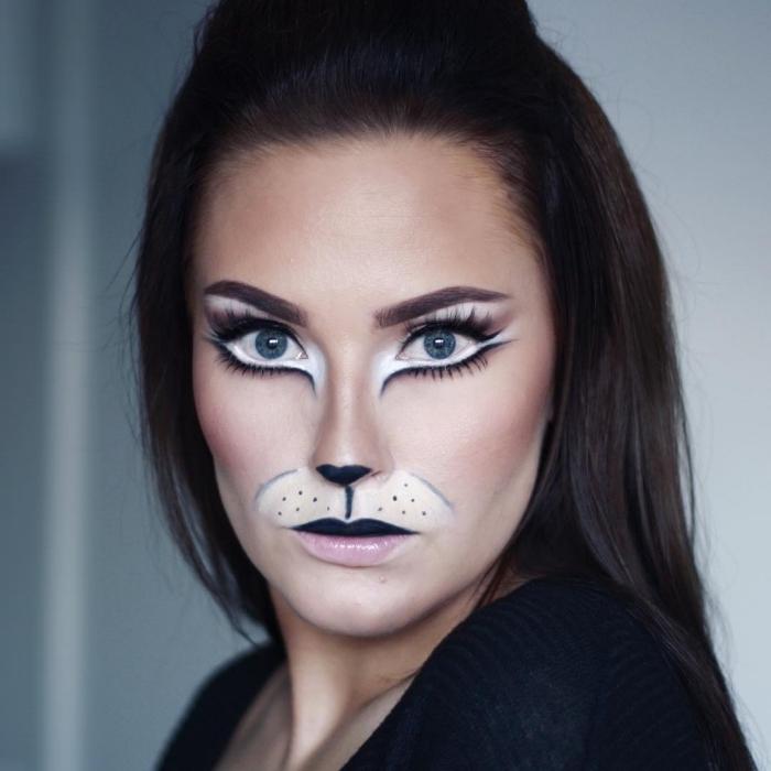 astuces maquillage halloween facile à réaliser soi-même, exemple de makeup avec fards à paupières et nez façon chat