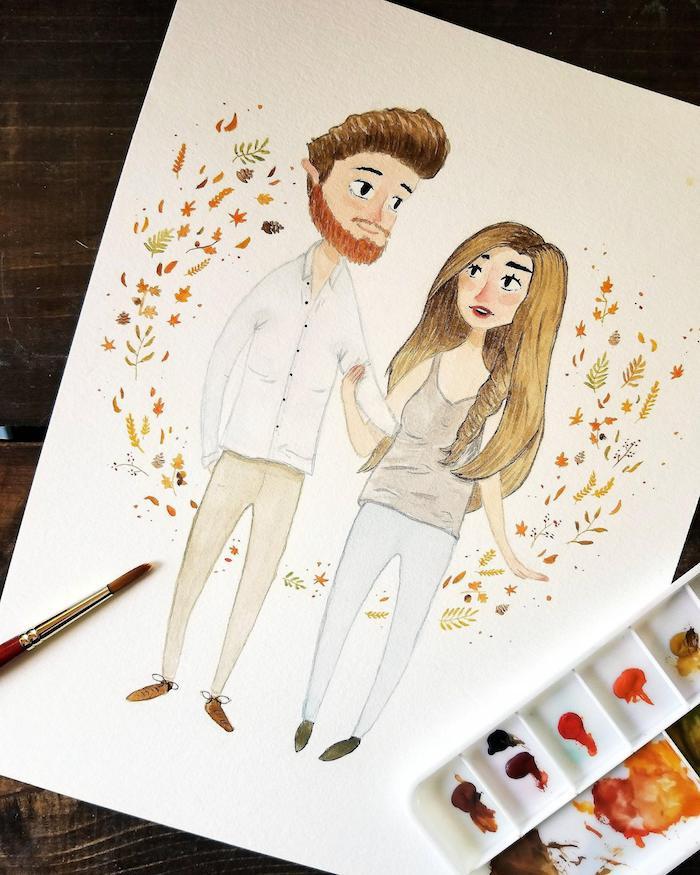 Couple amoureux entre feuilles d'automne, dessin femme et homme, suivre un pochoir pour apprendre