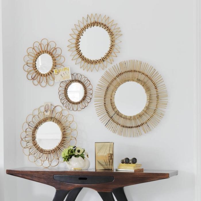 idée miroir decoratif en forme ovale, diy miroirs en fibre végétale à design soleil, décoration murale avec miroirs