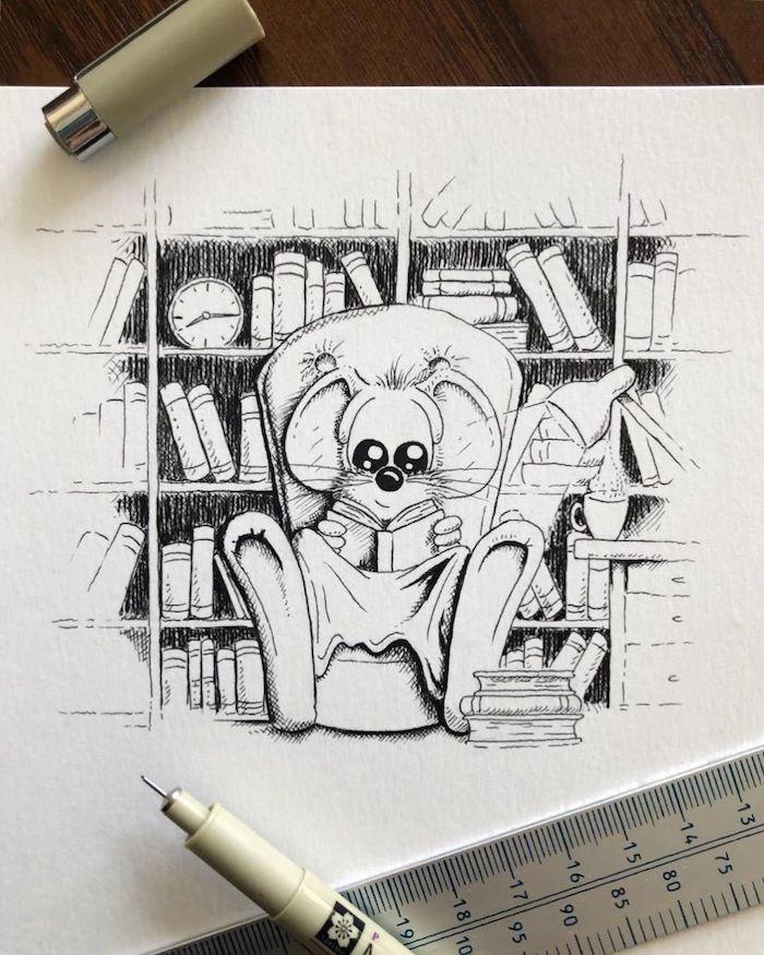 Dessin d'automne, coloriage souris qui lit un livre et animaux dessin automne, adorable image à recopier