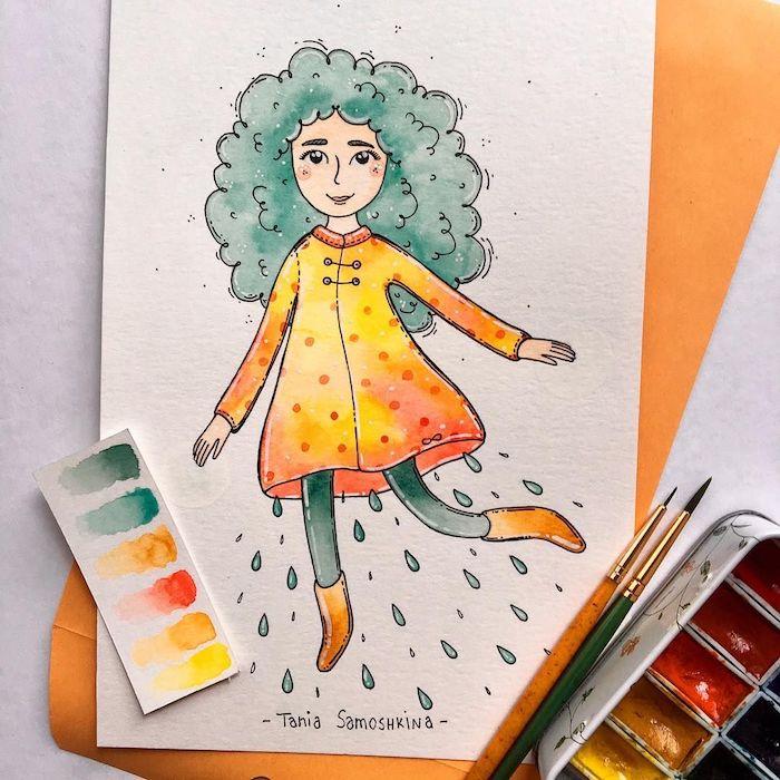 Fille qui represente l'automne et la pluie, belle fille souriante, coloriage automne, coloriage d'animaux, idée débutant