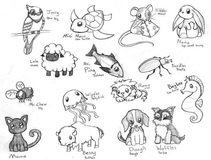 petis dessins d animaux kawaii, souris, poisson, chat, chien, perroquet, tortues et autres animaux mignons