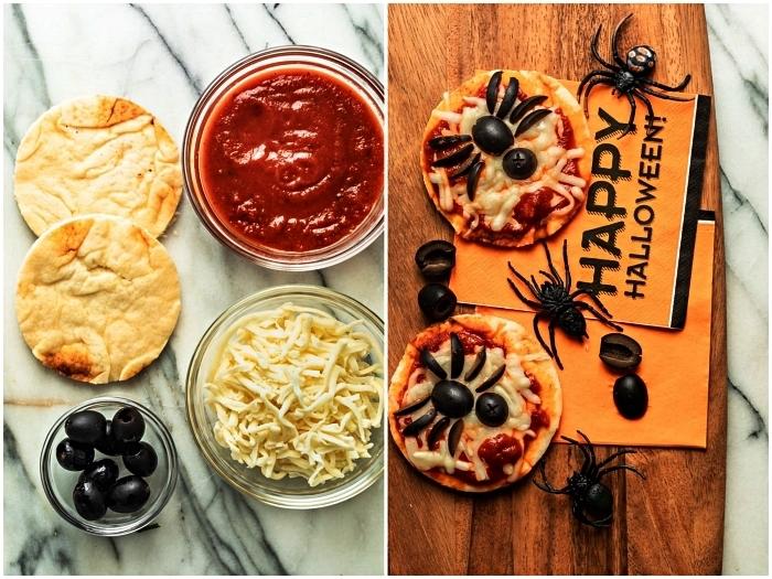 pizza halloween au fromage et à la tomate, mini-pizzas araignée pour l'apéro halloween