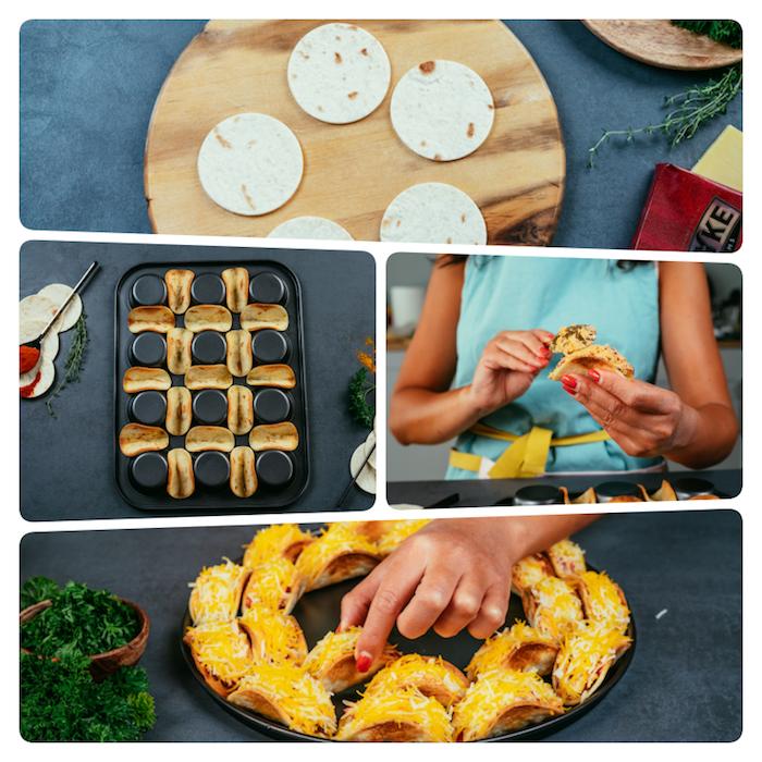 recette tacos maison en apéro, bouchées de tacos au poulet, fromage cheddar, fromage frais et poivron rouge