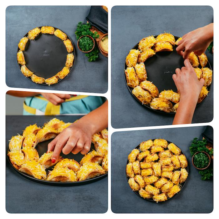 idée recette aperitif dinatoire facile et rapide, des mini-tacos au poulet servis avec du cheddar râpé et du persil haché