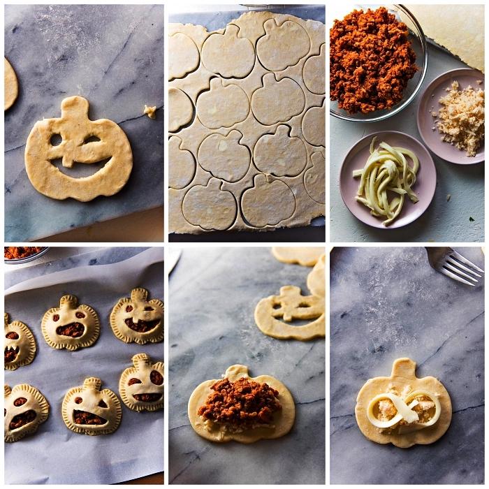 tuto pour préparer des mini-tourtes citrouilles d'halloween au fromage et chorizo, recette halloween horrible et originale
