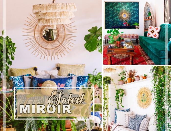 tendance déco 2019, modèle miroir rotin, aménagement salon de style jungalow avec canapé couvert de coussins décoratifs et plantes vertes,
