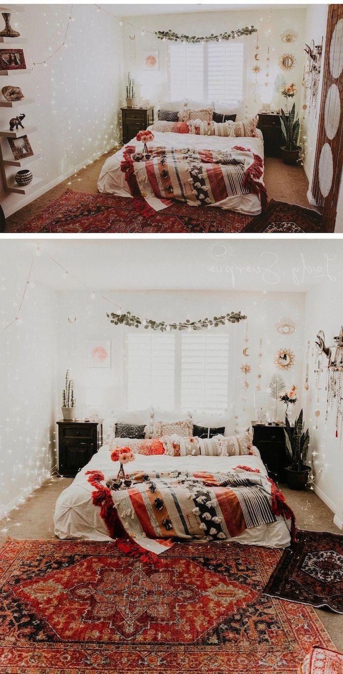 deco boheme chic cosy avec tapis oriental, deco murale végétale de fleurs, pluie de guirlandes lumineuses, parure de lit et coussins colorés