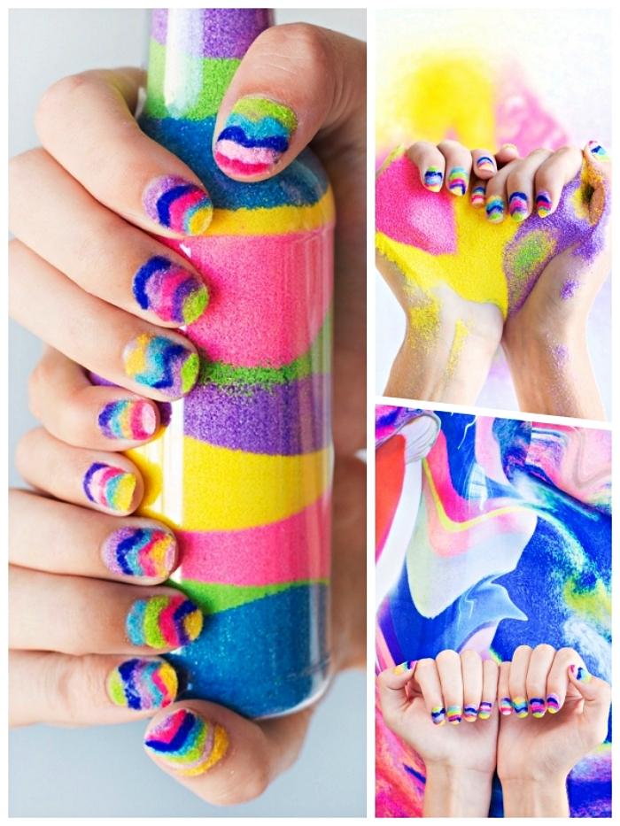 nail art avec du sable de couleur, une manucure sablée et multicolore, que faire avec du sable decoratif