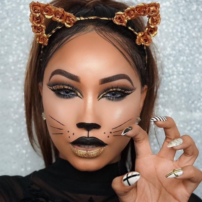 exemple comment bien se maquiller pour Halloween, technique contouring visage pour faire un makeup chat Halloween
