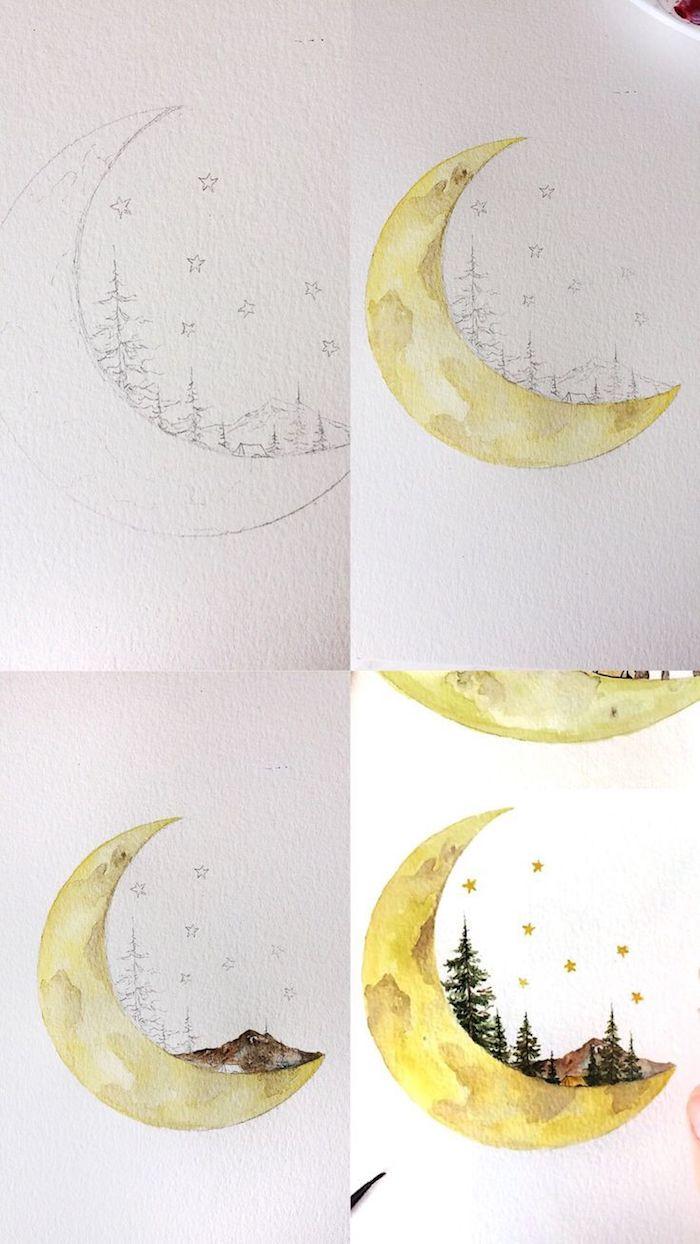 La lune et un paysage terrestre automnal, abstrait automne dessin, coloriage feuille, peindre son dessin