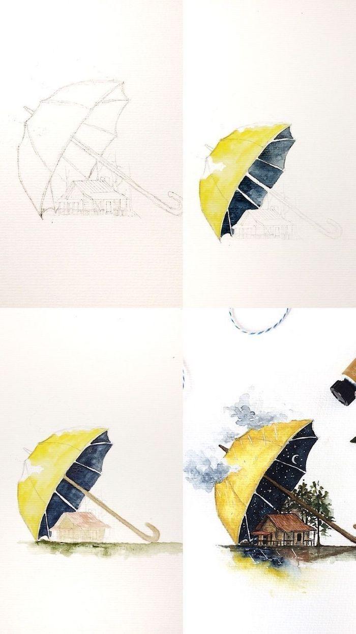 Jaune parapluie qui couvre la terre, nuit étoilée, dessin feuille d'arbre, feuille d'automne dessin simple