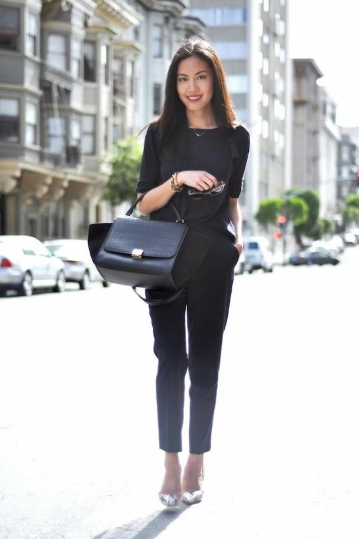 Tenue noire chaussures à talon, tout noir look, pantalon taille haute femme photo à san francisco, comment s'habiller en automne