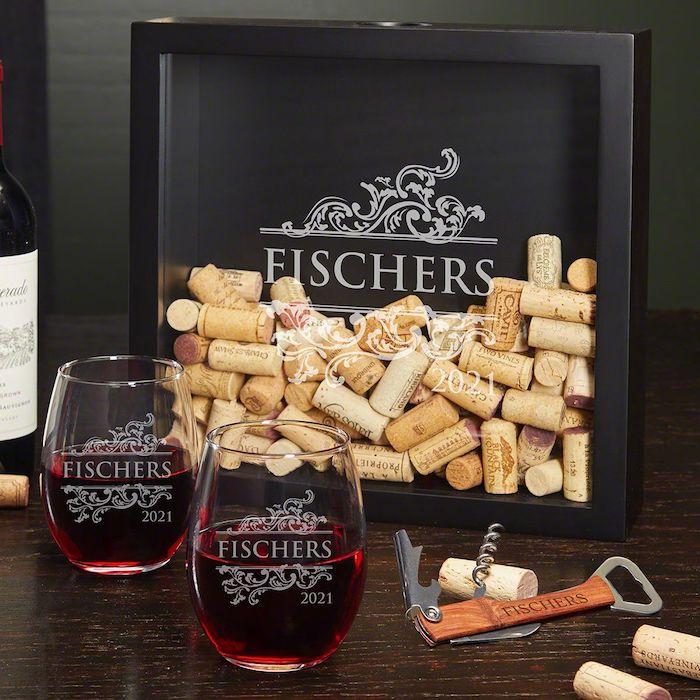 Verres personnalisés, idée cadeau couple, idée cadeau commun pour parents qui aiment boire de bon vin