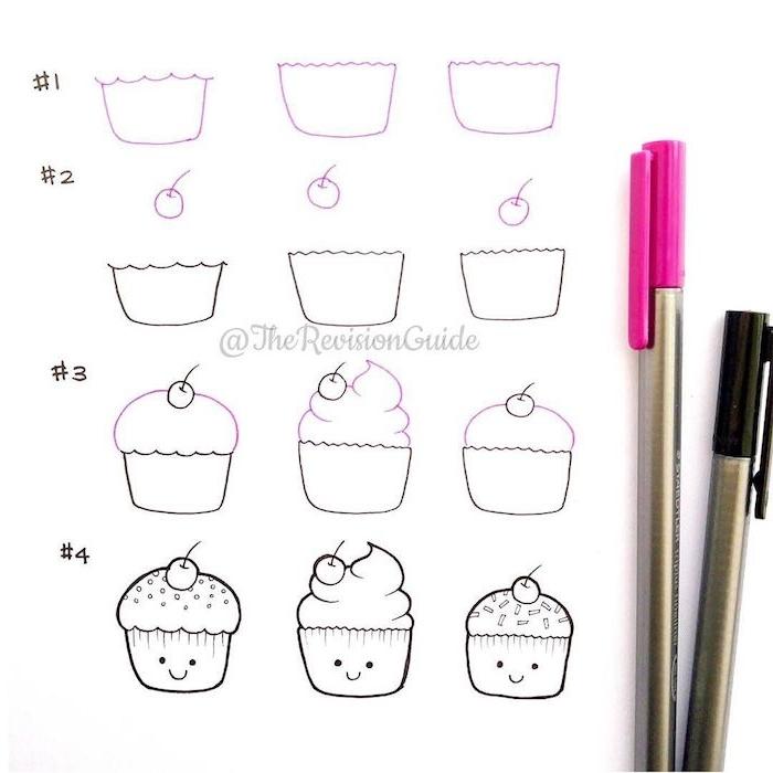 dessiner un cupcake avec des yeux en pos et simple trait pour la bouche, cupcake avec glaçage en top