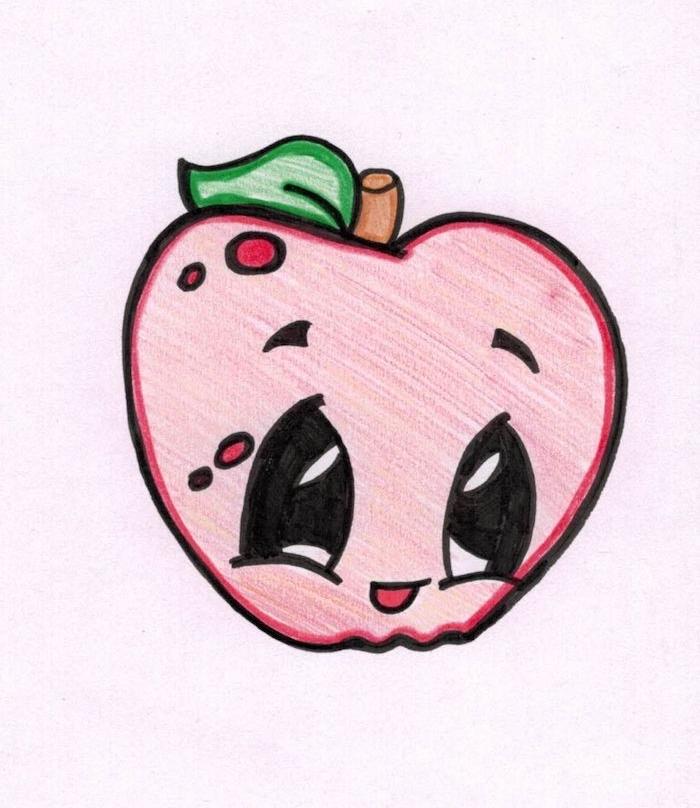 comment dessiner kawaii nourriture, pomme rouge, dessin crayon facile des yeux noirs énormes, feuille verte