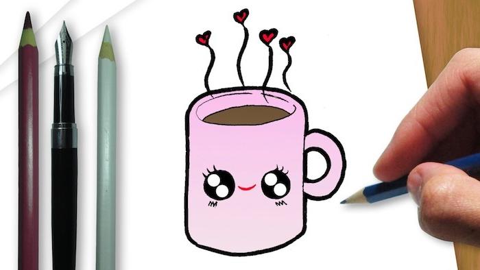 tasse de café aux yeux kawaii et des coeurs qui s evaporent idee de dessin trop facile a reproduire