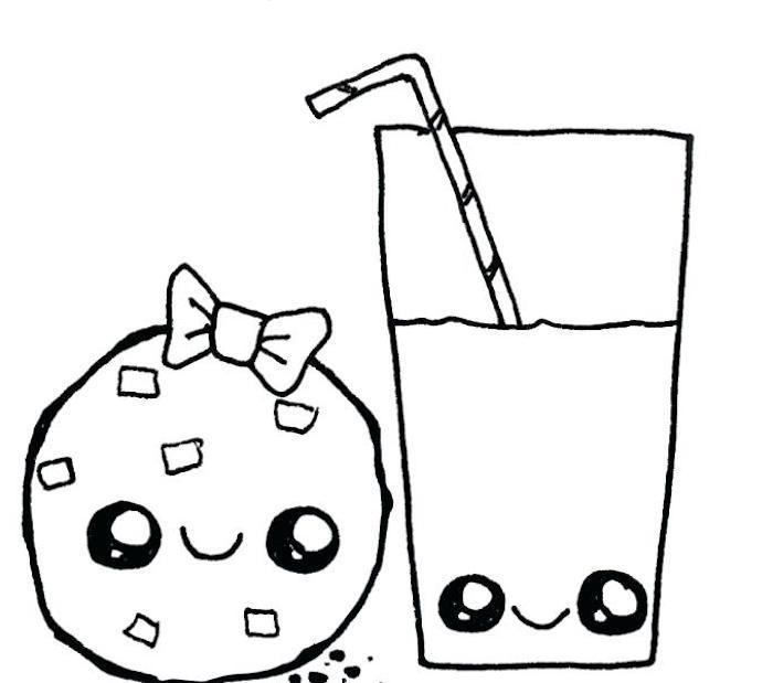 nourriture kawaii d un verre rempli d eau et donut aux yeux enormes et noeud de papillon, dessin graphique mignon