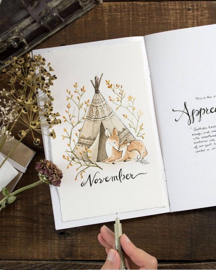 Novembre en tipi, deux cerfs maman et enfant, feuille d'automne dessin, automne dessin peinture