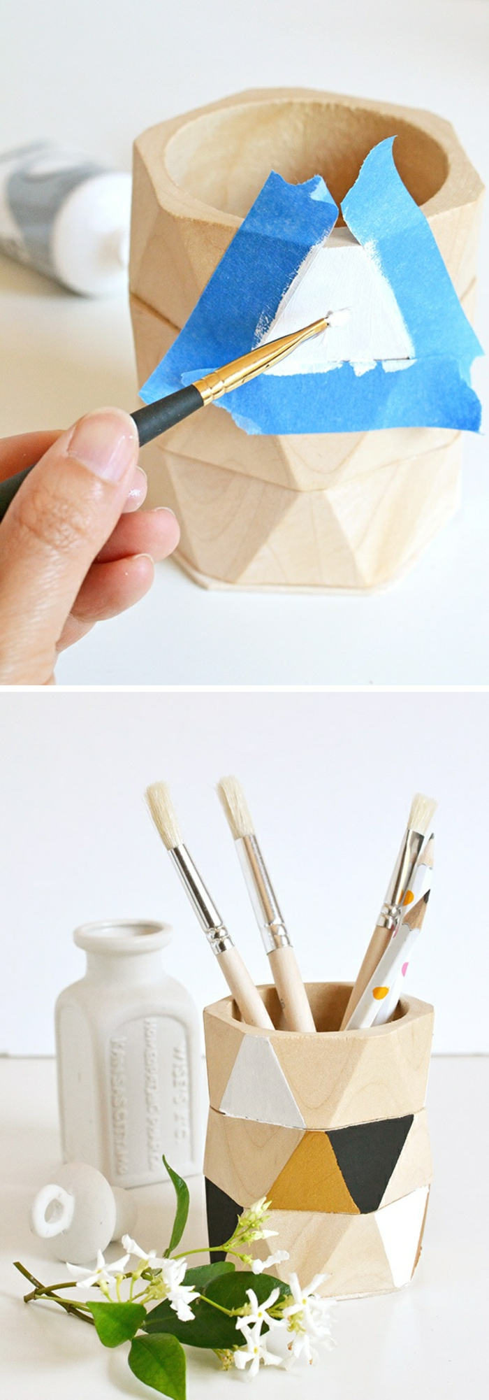 idée cadeau bricolage, modèle de pot à crayon en bois, comment faire un accessoire bureau avec bracelets en bois